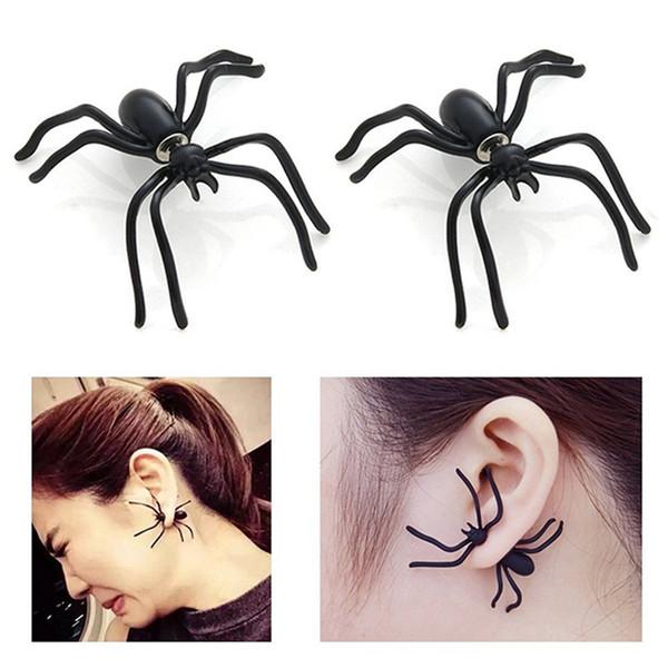 Серьги черный паук Хэллоуин животных серьги-гвоздики панк-стиль европейский винтаж женщины мода шарм себе ювелирные изделия серьги-манжеты серьги