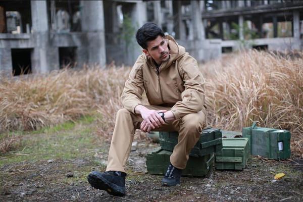 Shark Skin V 4.0 Military Tactical Softshell Jacket Men Windbreaker Waterproof Hoodie Clothes 20121215C SET
