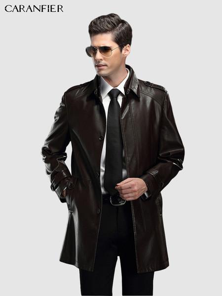 Mens Windbreaker Genuine Leather Sheepskin Mid-Long Leather Jackets Winter Motorcycle Coats Solid Slim Fit Outerwear