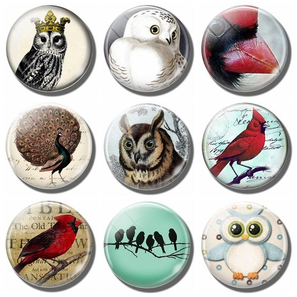 5pcs/lot Snowy Owl 30 MM Fridge Magnet Cardinal Bird Peacock Lover Glass Cabochon Magnetic Refrigerator Stickers Note Holder Home Decor
