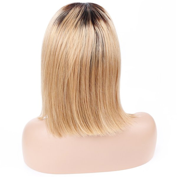 Bob Lace Front Wig With Baby Hair Ombre 1B/27 Peruvian Straight Pre Plucked Human Hair Wigs For Women Remy Lace Wigs Alot