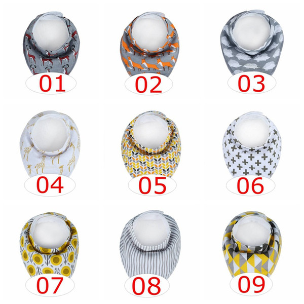 best selling 100% Safe Silicone Teether Infant Chevron Bibs INS fox bibs Children cartoon cotton baby bibs Burp Cloths over 20colors choose free ship