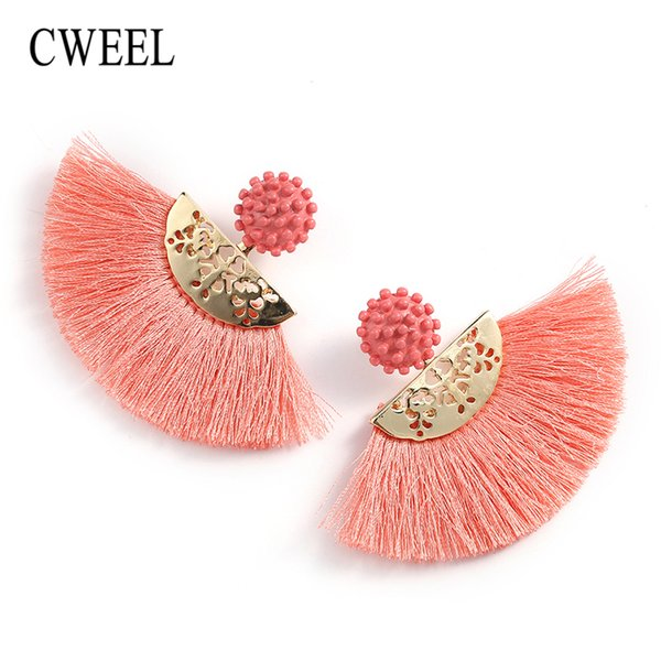 CWEEL Tassel Earrings For Women Summer Fringe Earings Fashion Jewelry Statement Bohemian Flower Wedding Brincos Hanging Earring