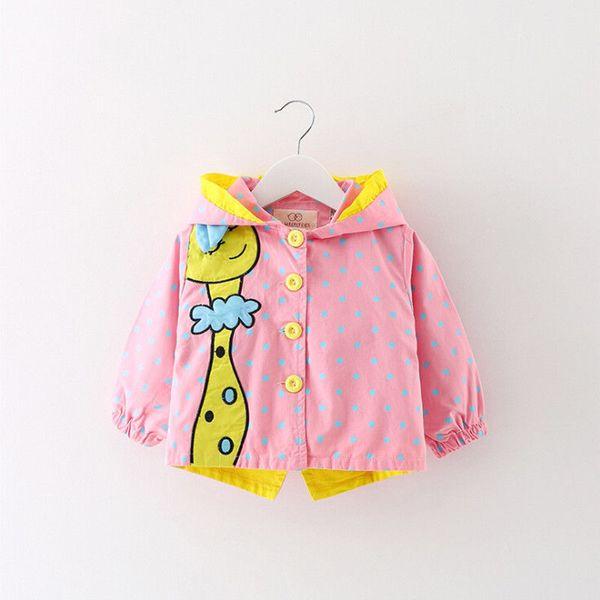 0-3T Newborn Kids Baby Girls Cute Cartoon Jackets Autumn Clothes Giraffe Hooded Coats Dots Hooded Fashion Lovely Outerwear
