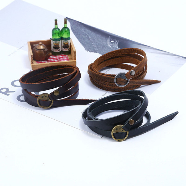 Wholesale New Punk Multilayer Genuine Leather Wrap Charm Bracelet Bangel Cuff Wristband Inspirational Jewlery Free shipping