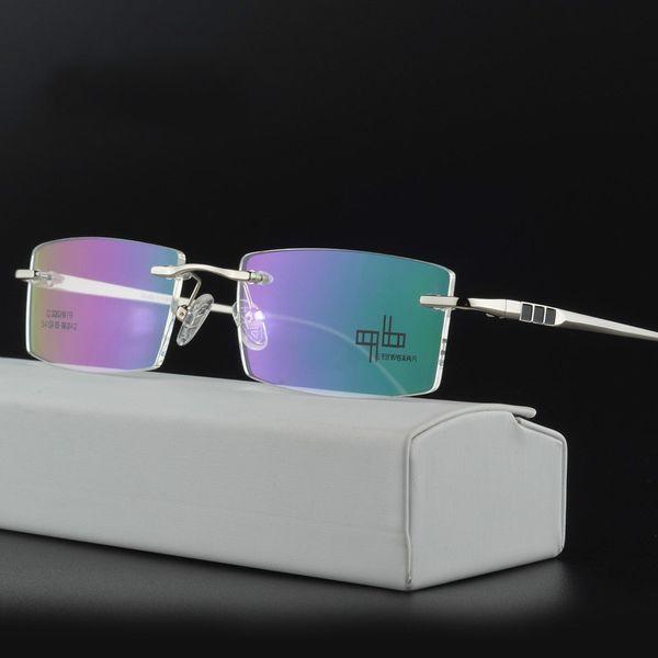 113fa9a817fb Business Frameless Eyeglasses Rimless Optical Frame Prescription Spectacle  Frameless Glasses For Men Eye glasses
