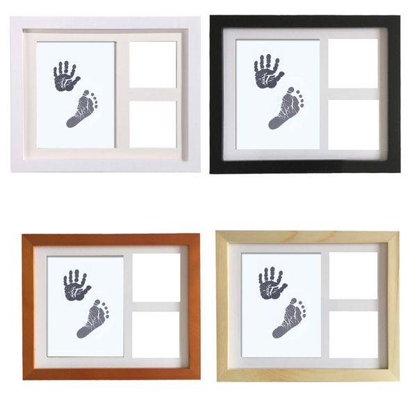 Newborn Baby Handprint Footprint Wood Photo Frame Kit Baby Clean-Touch Ink Pad Nursery Decor