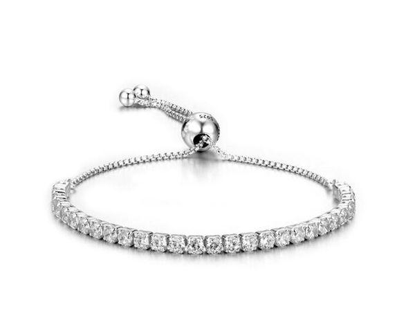 s925 bracelet en argent de mode femmes bracelet en argent sterling ajustement bracelet avec pierre blanche pour cadeau vente chaude