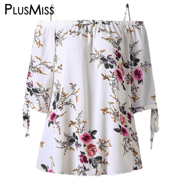 PlusMiss Plus Size 5XL Off Shoulder Top Ropa Mujer Boho Blusas de gasa de verano con estampado floral 2018 Blusas blancas sueltas de gran tamaño S915