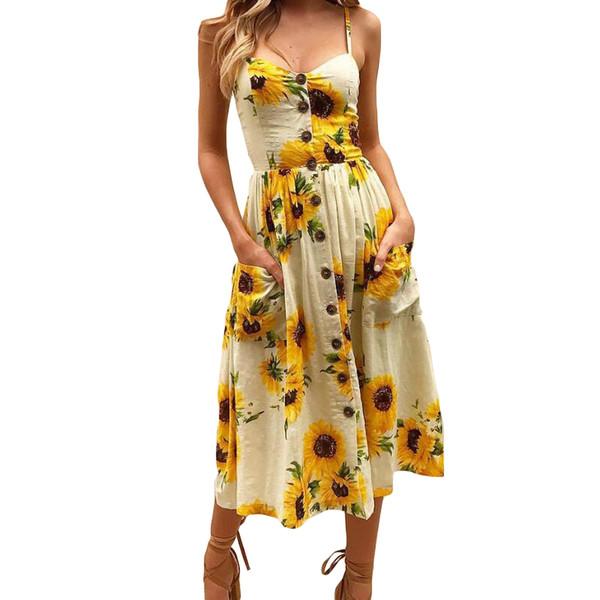 New Boho Style Spaghetti Long Dresses Button Decorated Print Dress Women Off-shoulder Plus Size Party Beach Sundress 2019