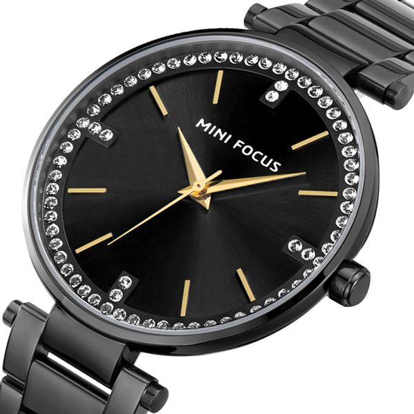 MINI FOCUS Women's Watch Business Watch Quartz Watches Diamond Japanese Movement Calendar Waterproof Metal Strap 0031L