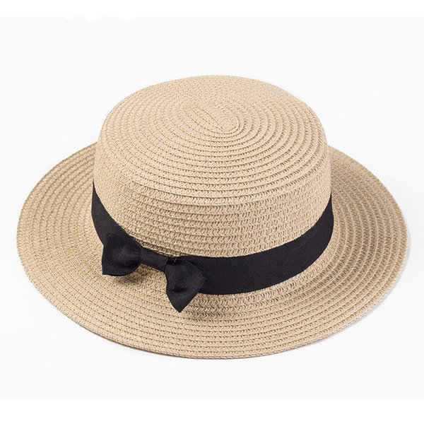 Girls and women Boater sun caps Ribbon Round Flat Top Straw beach hat Panama Hat summer hats for women straw hat snapback gorras