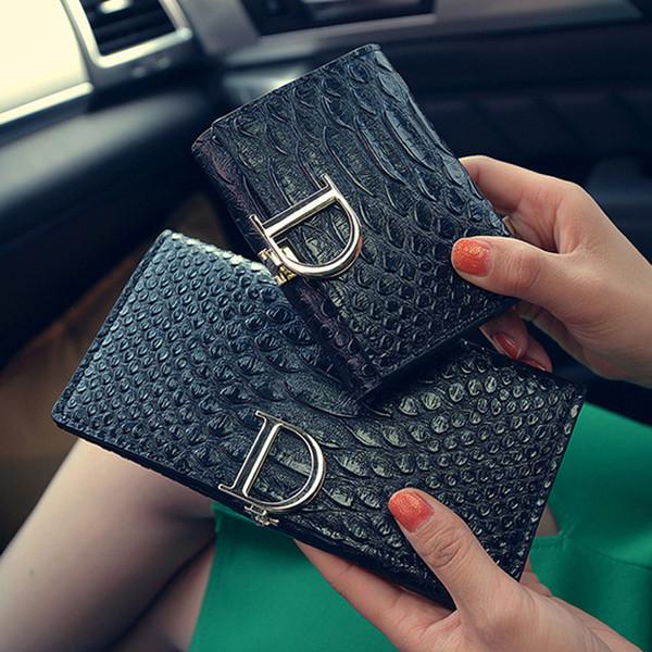 2016 New Women Long Wallet D Letter Lady Purse Snake Pattern Women Wallets Soft Surface Wallets Three Folds