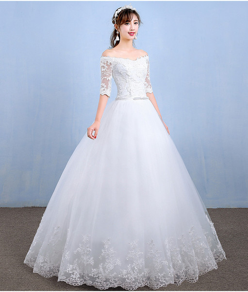 Hot Sale Wedding Dresses 2018 New Arrival Appliques Embroidery Lace Half Sleeve Sexy Boat Neck Princess Gown vestido de noiva