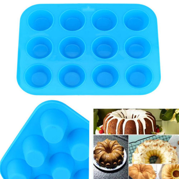 Thicken 12 Holes Round Silicone Cake Mold 3D Handmade Cupcake Non-stick Mini Muffin Soap Maker DIY Baking Tools
