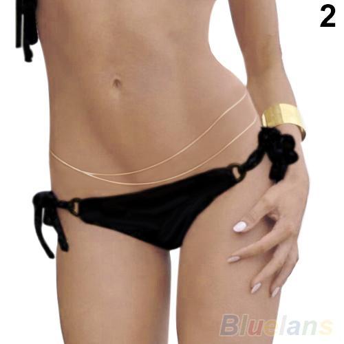 Collana Bluelans Fashion Women's Gold Bikini Belly Body Chain Link Sexy