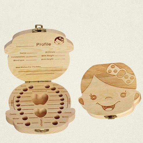 50pcs Spanish English Paint Tooth Box Organizer for Baby Milk Teeth Save Wood Storage Box Gift For Kids Boy & Girl # YA101