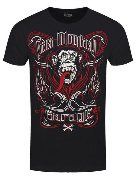 O t-shirt preto dos homens do tatuagem da garagem do macaco do gás
