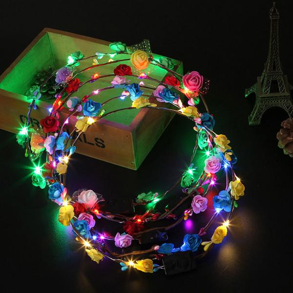 7 Style Mode Lumineux Chapeau En Rotin Fleur Couronne LED Bande De Cheveux Ronde Partie De Mariage Décoration Bandeau Pour Femmes Et Filles B