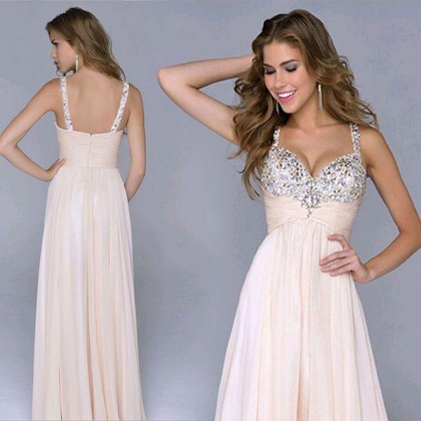 Foreverfad 2018 Hot sales summer women's chiffon low V-neck high waist with beads gauze hem stunning wedding dresses evening gown 969