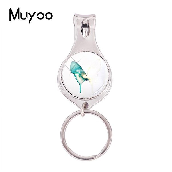 2018 Fashion Lovely Green Butterfly Multifunctional Keychain Art Butterflies Nail Clipper Keyring Silver Glass Dome Jewelry