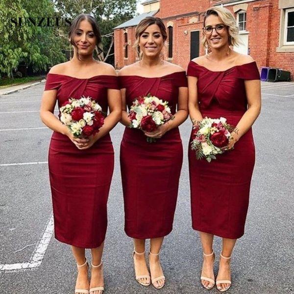 Elegant Sheath Short Bridesmaid Dresses 2018 Sexy Dark Red Tea Length Wedding Guest Dresses Scalloped Pleats Off Shoulder Maid Of Honor Dres