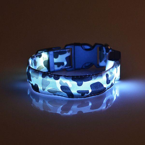 Camouflage LED Light Dog Colliers Nylon 8 Couleurs Réglable Chien Chat Sécurité Clignotant Glow Collier Collier