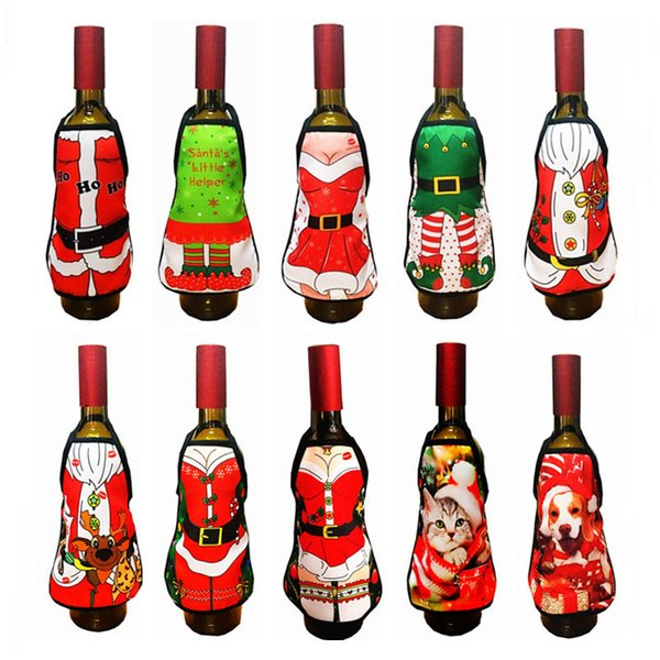 10 Pcs/lot Christmas Decoration Wine Bottle Bags Champagne Cover Wrap Xmas Dinner Party Table Decors Sexy Cute Bottle Dress Cover