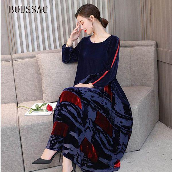 Big Size New Design Chinese Style Women Robe Velvet Color Block Patchwork Elegant Autumn Loose Print Silhouette Bottom Dress Hot