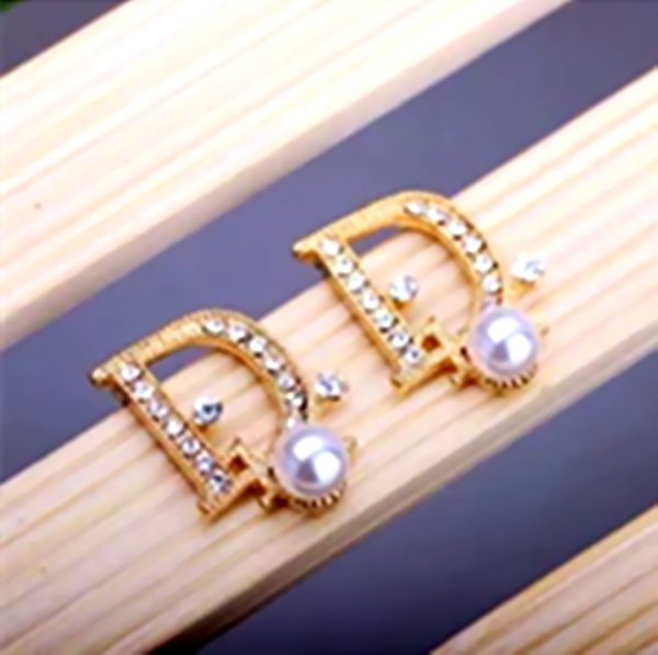 High Quality Crystal Pearl Letters Earrings Shining Cubic Stone Ear Studs Gold Plated Eardrop For Women Girl Wedding Party Jewelry Gift