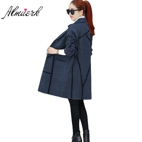 2017 autumn winter women sweater jacket Fashion medium long wool knitted jacket Korean women knitted cardigan slim coat yz434