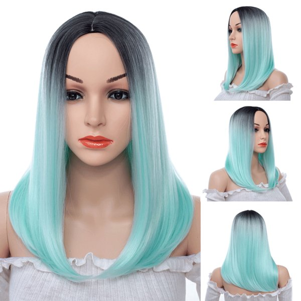 Blue Ombre Women Long Synthetic Straight Hair Cheap Side Bang Chemical Headgear Dyed Partial Fiber Wig