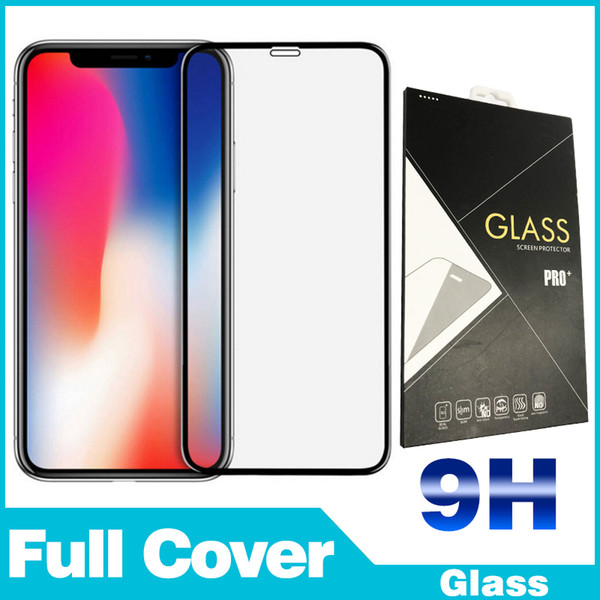 Tempered Glass Film For iPhone 6 7 8 X XR XS Silk screen Front Phone Screen Protectors color box For LG Moto Samsung