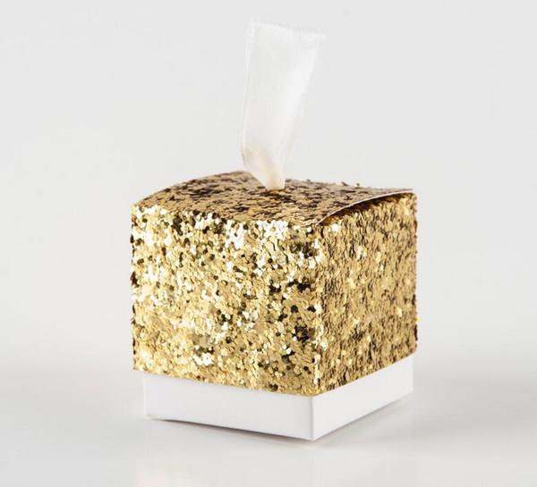 Decoración de la boda de lujo Brillo de oro Cajas de dulces Banquete de boda Favor Titulares Caja de regalos de plata cuadrada Cajas de chocolate
