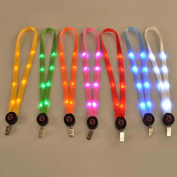 LED Işık Up İpi Anahtarlık KIMLIK Rozeti Kart Kolye Tuşları Tutucu Asılı Halat Ücretsiz Nakliye