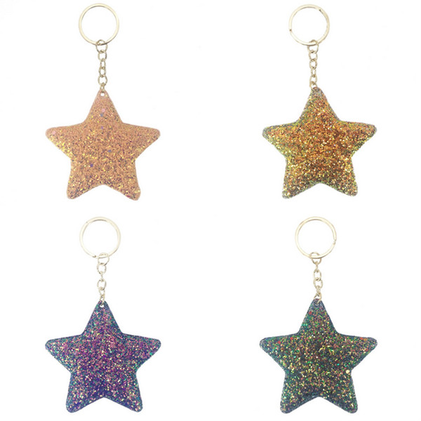 Flash drill Sequins five-pointed star Keychain pendants ladies' bags, creative gifts, car keys ornaments