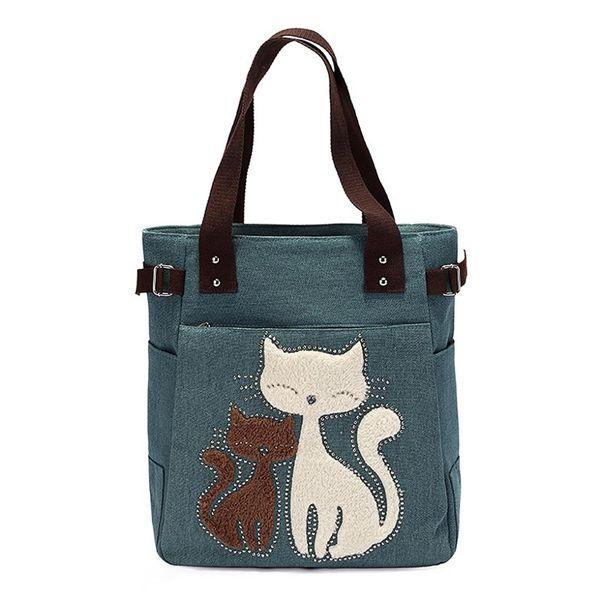 FGGS Hot Women's messenger handbag canvas bag with cute cat small shopping shoulder bag