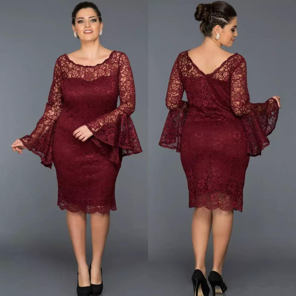 Dark Red Mother Of The Bride Dresses Jewel Neck Long Sleeve Full lace Knee Length Wedding Guest Dress Sheath Evening Gowns