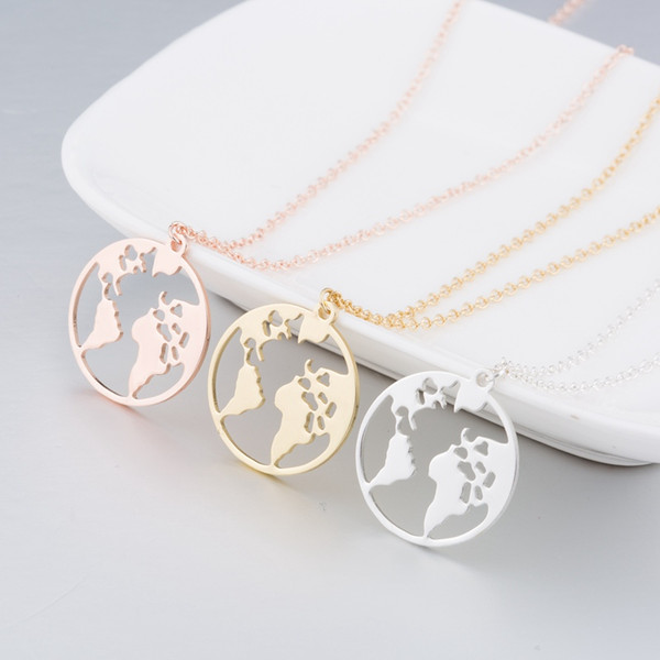 Globe World Map Necklace Earth Day Gift For Best Friends Wanderlust Pendants Personalized Fashion Outdoor Necklace