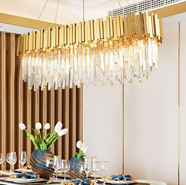 YHTGONG Luxury Gold Crystal Chandelier For Dining Room Oval Design Cristal Lustres Kitchen Island Hanging LED Crystals Lamps