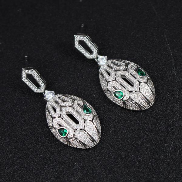 Cubic Zirconia Snake Earring Pour Filles 2018 Nouvelle Marque De Mode Bijoux Argent Plaqué De Luxe Femmes De Mariage Boucles D'oreilles En Gros