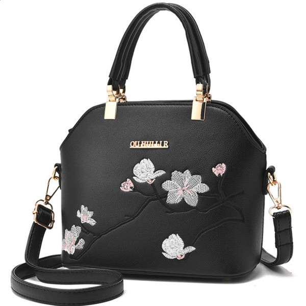 SFG HOUSE Black Embroidery Handbag Shell Women Bag Elegant Female Shoulder Bags Summer Satchel Casual Women Cross Body Bag