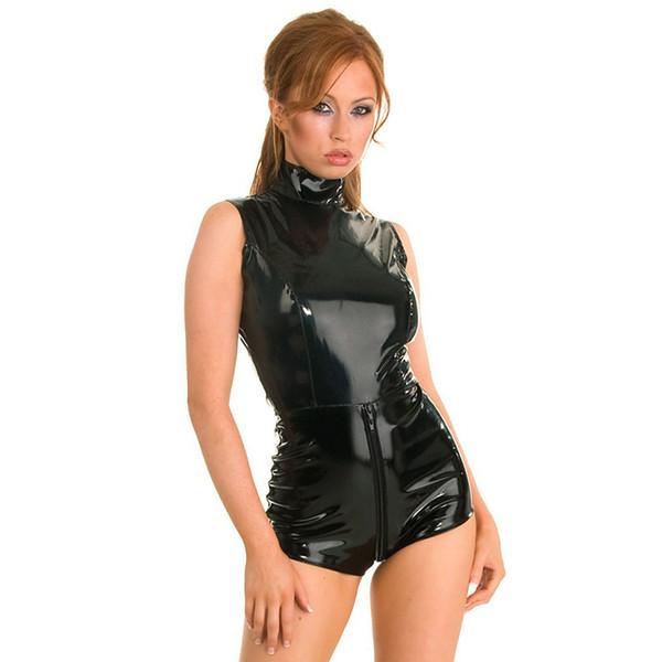 New Clubwear Crotchless Látex Preto Bodysuit Lingerie de Couro de Vinil Fetiche Bondage Vestido Catsuit Collant Erótico PVC Grande Venda
