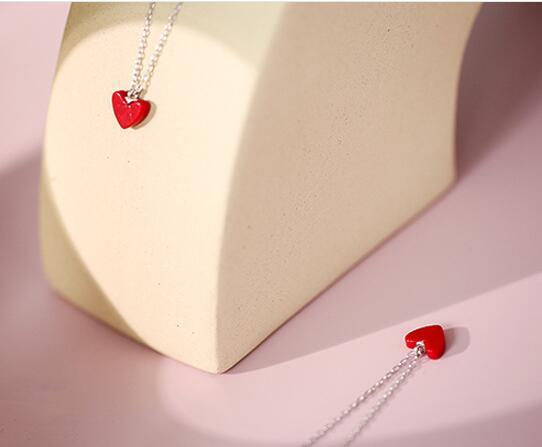 S 925 sterling silver red love black round necklaces luxury brand design valentines day necklace collarbone chain girlfriend gifts 500