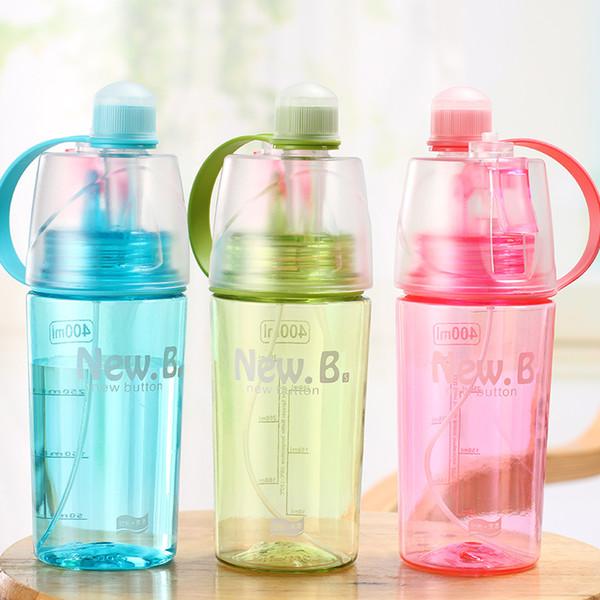 100pcs 600ML/400ML Creative Sport Drinking Spraying Water Bottle Summer Outdoor Cycling Climbing Portable Moisturizing Cooling Bottles