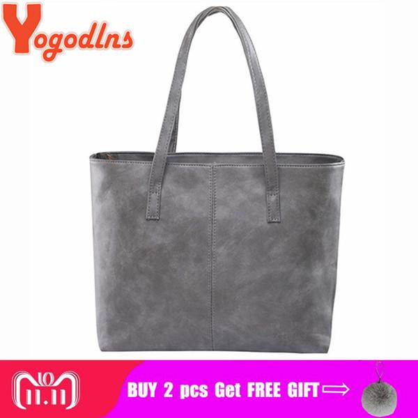 2019 Fashion Yogodlns bag 2018 fashion women leather handbag brief shoulder bags gray /black large capacity luxury handbags tote bags design