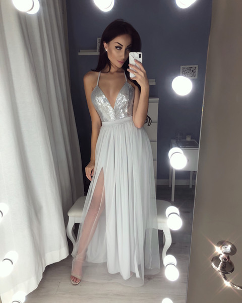 Sexy V-neck Sequin Long Prom Dresses Slit Evening Gowns Tulle Evening Dress New Floor Length Custom Grey Prom Dress