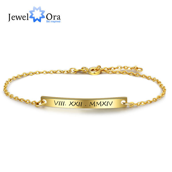 Personalized Gift ID Braceles Customize Engrave Name Gold Color Fashion Bracelets & Bangles For Women (JewelOra BA102102)