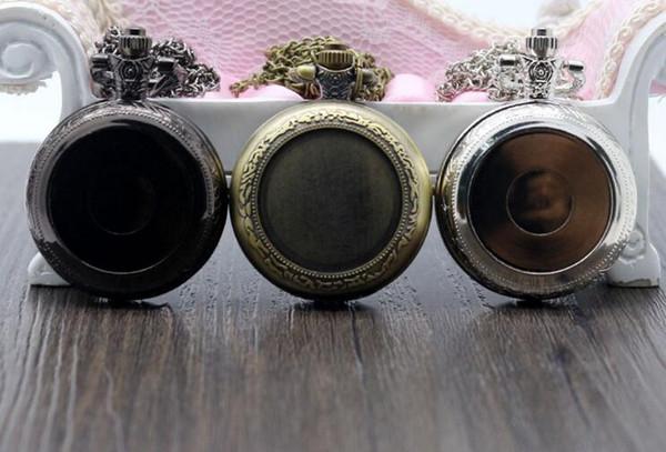 Wholesale 50pcs/lot Mix 3Colors Quartz watches Necklace Chain Bronze DIY Jewelry pocket watches PW061