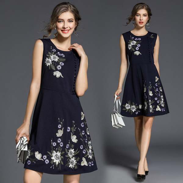 Women Evening Dress Embroidery Floral Panoply Prom Dresses Sleeveless Slim Fit Elegant Vintage A Line Dresses